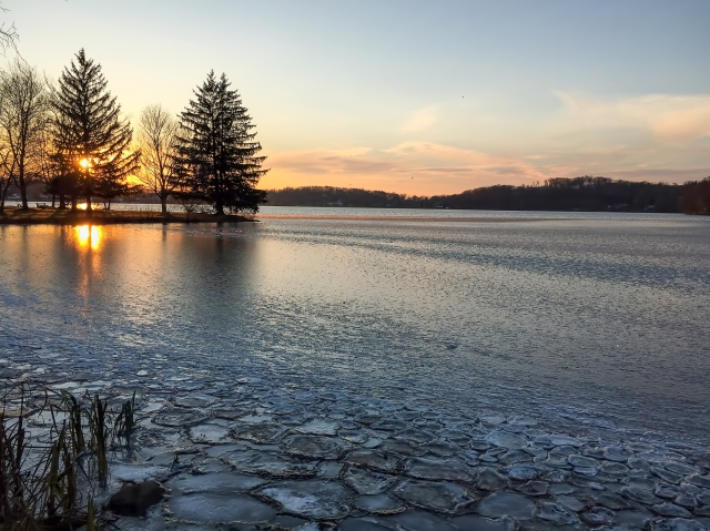 Ice at Lake Musconetcong, NJ, Nov. 19, 2014 (iPhone photo by Jonathan Klizas)