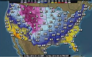 Temperatures 8 p.m. EST, Nov. 12, 2014 (The Weather Channel)