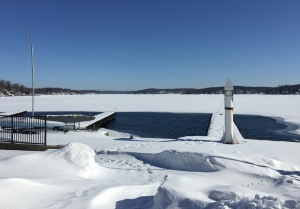 Lake Hopatcong looking north from Bertrands Is., Feb. 28, 2015 (iPhone photo by Jonathan Klizas)