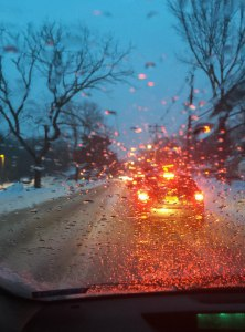 Snow, sleet, rain, traffic jams, Morristown, NJ, Mar. 3, 2015 (iPhone photo by Jonathan Klizas)