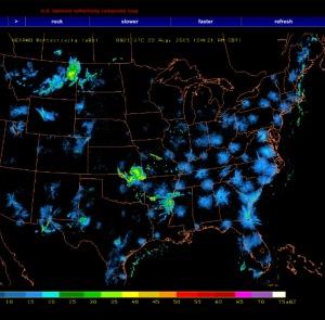 Bird Migration Radar, Aug. 22, 2015